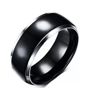 MEN'S 8MM BLACK POLISHED PLATED TITANIUM BAND RING
